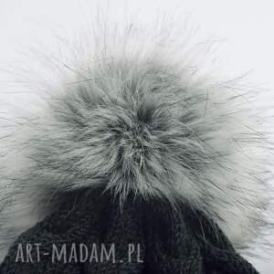 efektowne czapki czapka ciemnoszara merynos damska