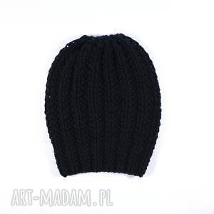 czapki dziergana czapka czarna