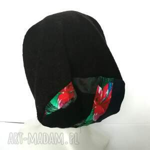 niepowtarzalne czapki damska czapka czarna kolorowa