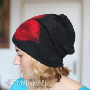 oryginalne czapki wełna czapka czarna wełniana handmade