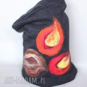 czapki wełna czapka handmade na podszewce, 58cm 61cm