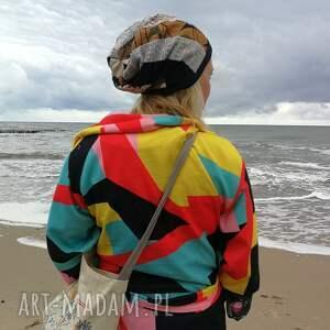 czapki: czapka damska patchworkowa na podszewce handmade - folk