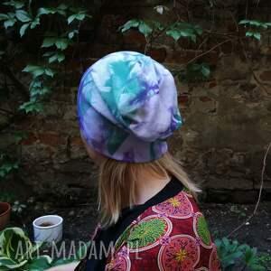 unikalne czapki czapka damska ręcznie farbowana