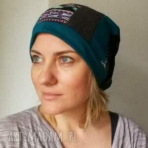 ręcznie zrobione czapka damska długa patchworkowa