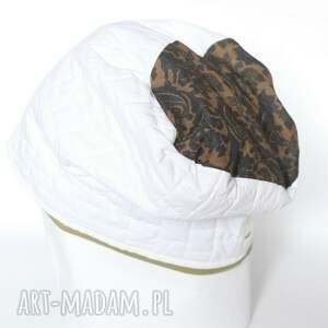czapki czapka damska biała z motywem