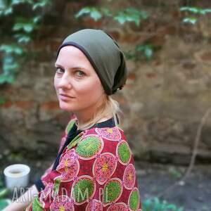 nietypowe czapki czapka damska zielona w liski