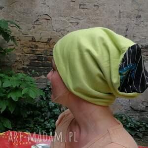 czapki czapka damska limonkowa ciepła