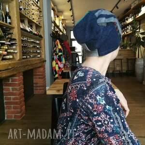Ruda Klara czapka damska ciepła patchworkowa przylegająca