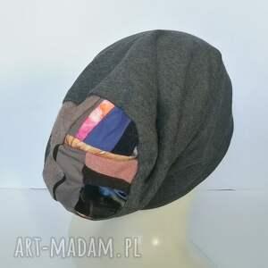 czapki czapka damska grafit na turkusowej