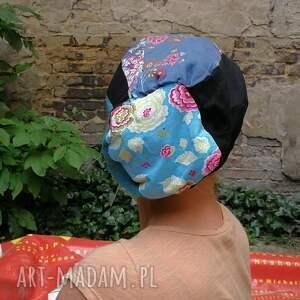 efektowne czapki czapka damska patchworkowa kolorowa