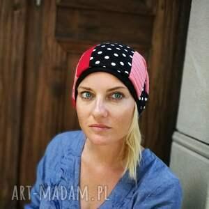 czapki czapka damska patchworkowa groszki