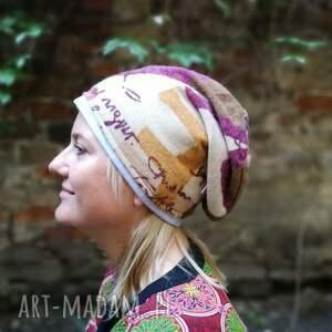 etno czapki czapka damska ciepła stonowana