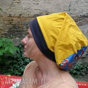 etno czapka damska zółta dzianina