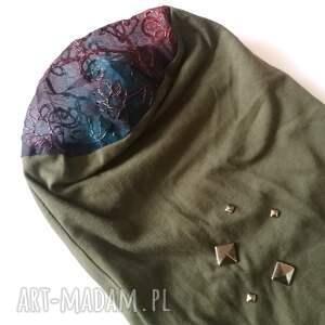 niesztampowe czapki etno czapka damska ciemna zieleń