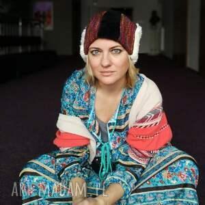 etno czapki czapka damska patchworkowa kolorowa