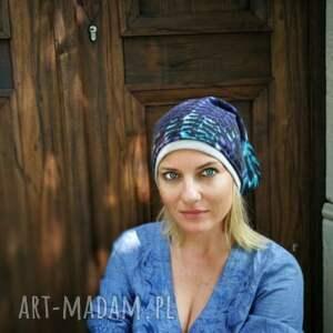 oryginalne czapki czapka damska niebieska etno miękka