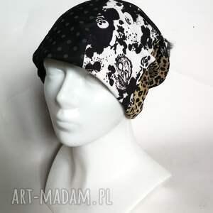 czapka damska wiosenna zwariowana w czaszki panterkę i grochy handmade