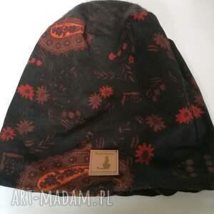 etno czapki czapka damska i komin patchworkowy