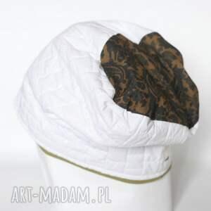 biała czapki czapka damska z motywem