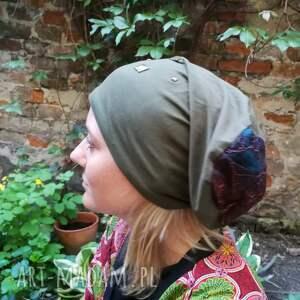 etno czapki czapka damska ciemna zieleń