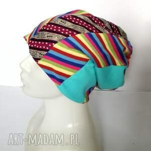 sportowa czapki czapka damska kolorowa patchworkowa
