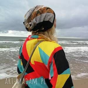 Ruda Klara czapki: czapka damska patchworkowa na podszewce handmade - folk etno