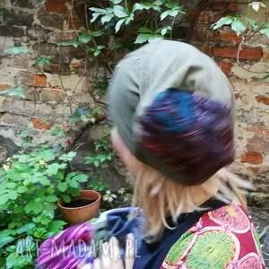 czapki etno czapka damska ciemna zieleń