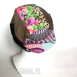 czapka damska kolorowa smerfetka długa handmade boho etno