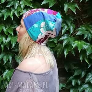 czapki etno czapka damska szyta patchworkowo handmade - box