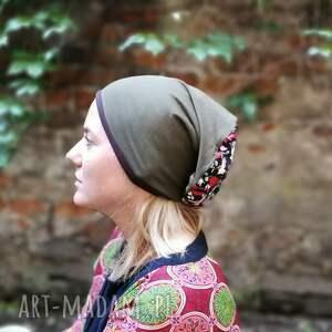 czapka damska zielona w liski