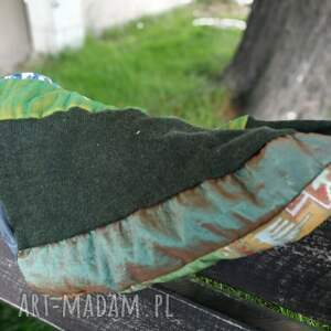 patchworkowa czapka damska na podszewce szyta