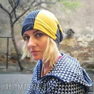 czapki etno czapka damska dzianina patchwork