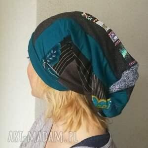 czapki etno czapka damska długa patchworkowa