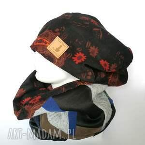 czapki etno czapka damska i komin patchworkowy handmade