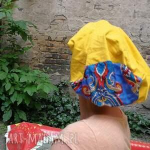 czapki etno czapka damska zółta dzianina
