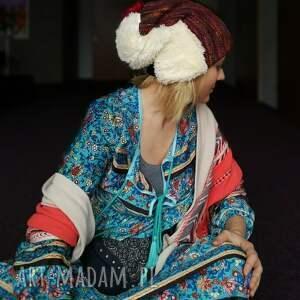 czapki etno czapka damska patchworkowa kolorowa