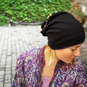 czarne czapki etno czapka damska przejściówka bawełna
