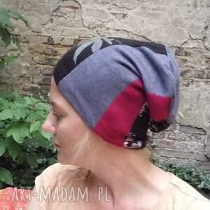 czapki etno czapka damska patchworkowa ciepła
