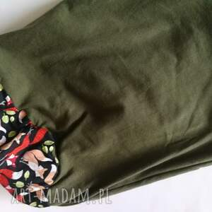nietypowe czapki etno czapka damska zielona w liski