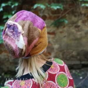 czapki etno czapka damska ciepła stonowana