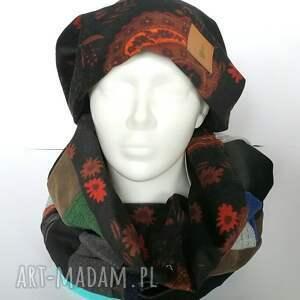czapki komin czapka damska i patchworkowy