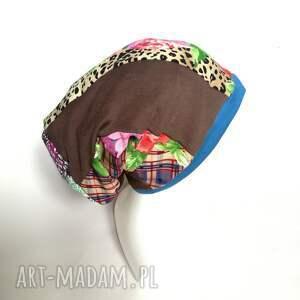 czapka damska kolorowa smerfetka długa handmade boho kwiaty