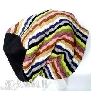 czapki paski czapka damska kolorowa etno