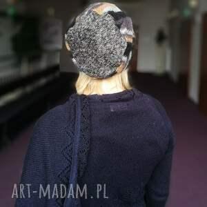 czapki paski czapka damska azurowa wełniana