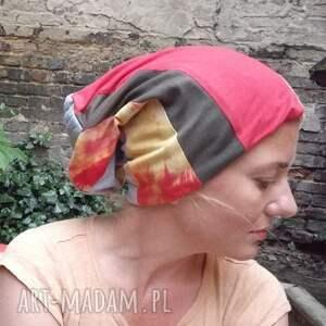 dzianina czapki czapka damska patchworkowa ciepła