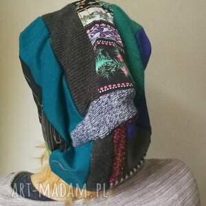 etno czapki czapka damska długa patchworkowa