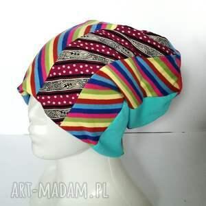 czapki sportowa czapka damska kolorowa patchworkowa