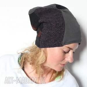 czapki wełna czapka damska patchworkowa