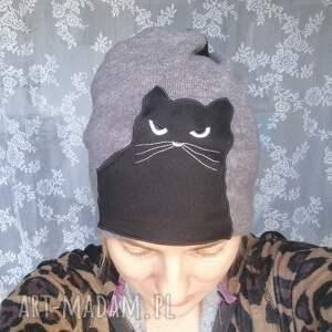 kot czapki czapka damska wełniana czarny kot