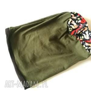 czapki etno czapka damska zielona w liski